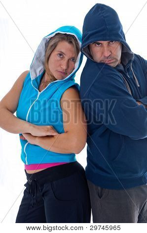 Man And Woman In Sports Clothes