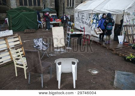 The Occupy Exeter Camp In The Process Of Being Cleared Of Exeter Cathedral Green.