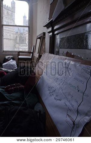 A Mind Map And Chart Of What Occupy Exeter Site 2 Represents Is Fixed To A Board In The Guard Room O