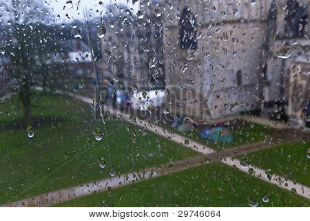 A View Of Occupy Exeter Camp On Exeter Cathedral Green From A Rain Soaked Window In Occupy Exeter Si