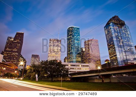 Downtown Houston en momento de tráfico