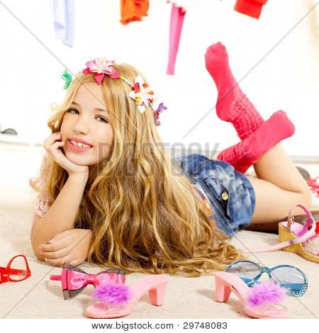 fashion victim kid girl wardrobe messy like backstage model