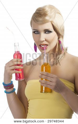 Fashion Summer Girl Drinking, She Drinks The Orange Drink