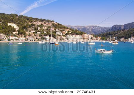Soller port in Majorca island with tramontana mountain on background at Spain