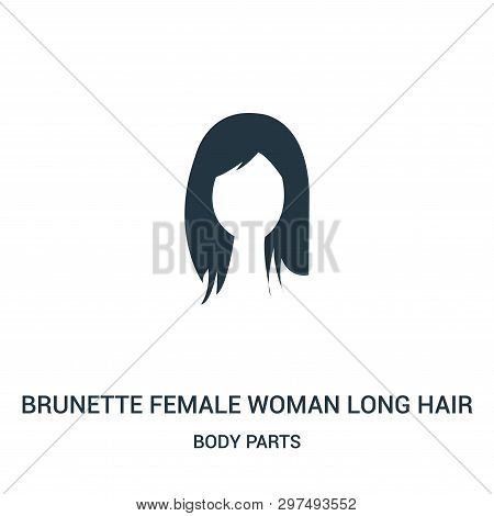 poster of Brunette Female Woman Long Hair Icon Isolated On White Background From Body Parts Collection. Brunet