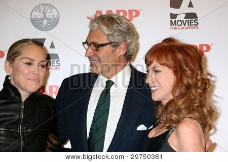 LOS ANGELES - FEB 6:  Sharon Stone, Michael Nouri, Kathy Griffin arrives at the AARP's 11th Annual Movies For Gownups Awards at Beverly Wilshire Hotel on February 6, 2012 in Beverly Hills, CA