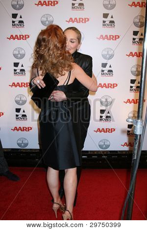 LOS ANGELES - FEB 6:  Sharon Stone, Kathy Griffin arrives at the AARP's 11th Annual Movies For Gownups Awards at Beverly Wilshire Hotel on February 6, 2012 in Beverly Hills, CA