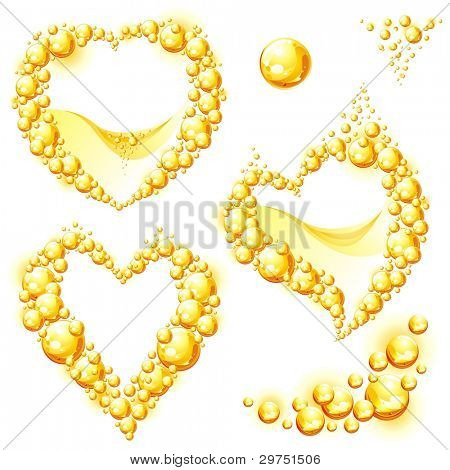 Collection of orange juice frames in the form of heart. Vector illustration.