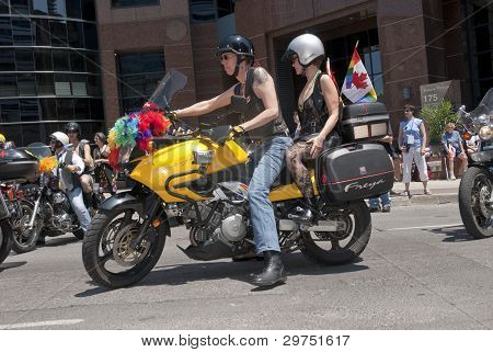Motor Cyclists Take Part In The Toronto Gay Pride Procession