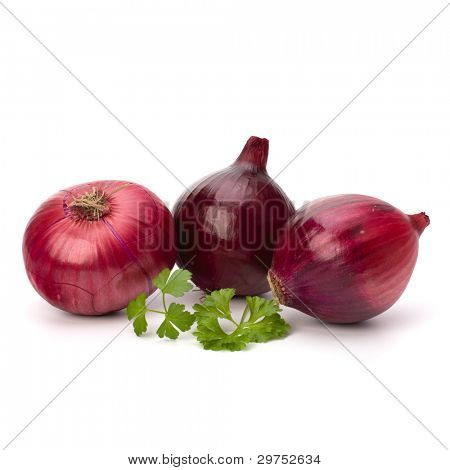 Red onion tuber and fresh parsley isolated on white background