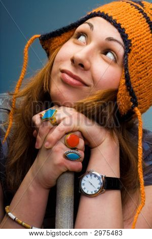 Cute Young Woman With Winter Hat
