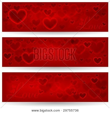 Set Of Three Banners With Red Hearts. Valentine's Day