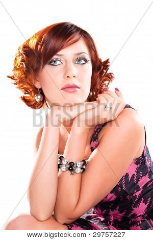 Portrait Of Attractive Dreaming Red Haired Girl