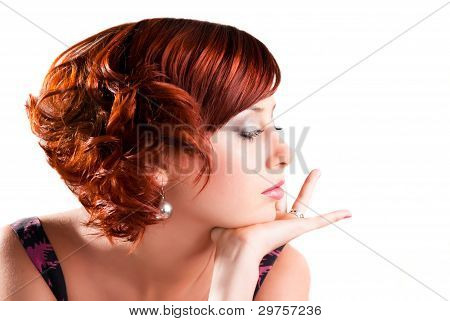Portrait Of Attractive Red Haired Young Woman