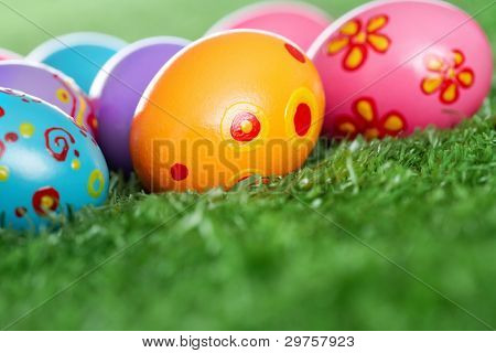 Easter eggs lying on the lawn