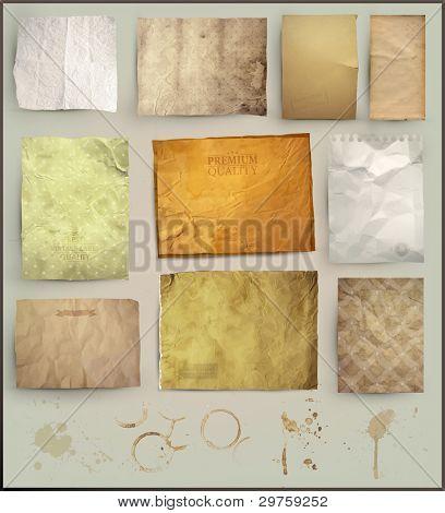 Conjunto de scrapbooking. texturas de papel antigo: envelhecido diferentes elementos de papel para seus layouts
