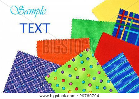 Colorful cotton fabric swatches (used for sewing, quilting, applique, and crafts) on white background with copy space.   Would also be a fun conceptual image for reconciliation - 'patching things up'