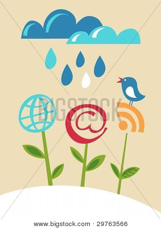 flores de los iconos de Internet con blue bird