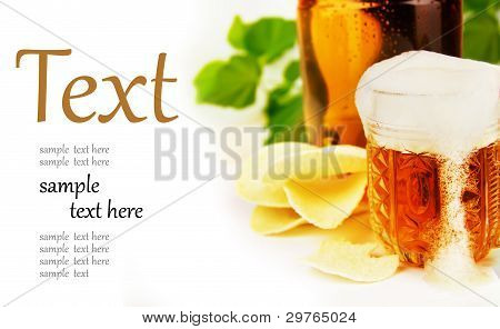 Beer And Chips On A White Background