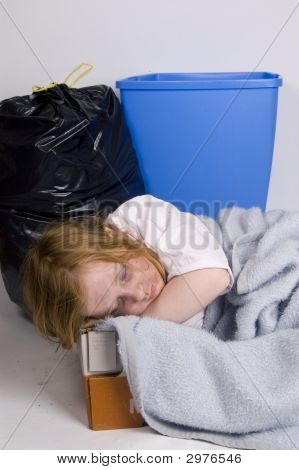 Homeless Kid Sleeping In A Box
