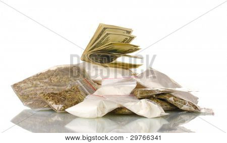 Cocaine and marijuana in packet isolated on white