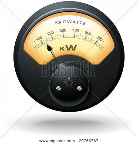 Analog Electrical Meter, realistic detailed vector
