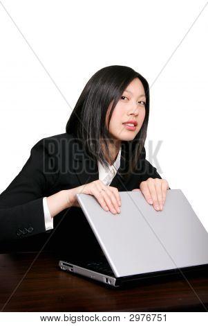 Asian Woman Protecting Computer