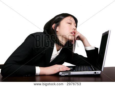 Asian Business Woman Sleeping