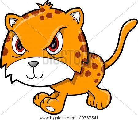 Angry Mean Leopard Animal Vector Illustration Art