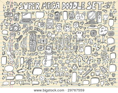 Notebook Doodle Sketch Speech Bubble Design Elements Mega Vector Illustration Set