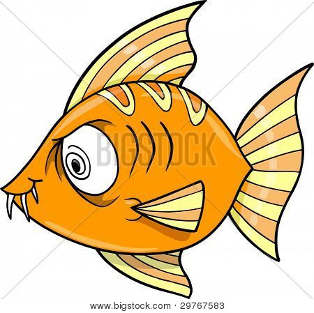 Crazy Insane Fish Ocean Vector Illustration