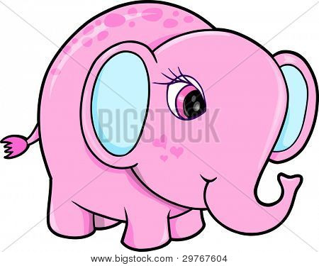 Cute Girl Elephant Animal Vector Illustration