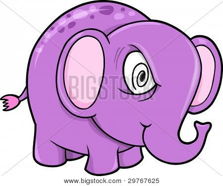 Crazy Insane Elephant Animal Vector Illustration