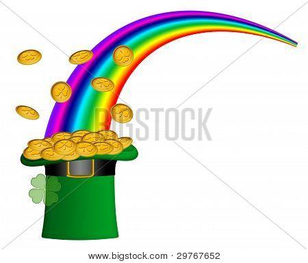 Saint Patricks Day Hat Of Gold With Rainbow