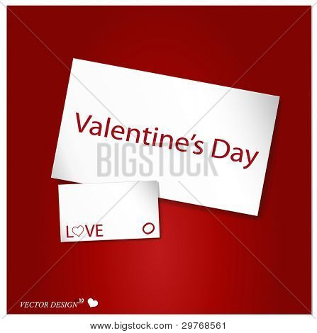 Valentine's card on a red background. Vector Illustration.