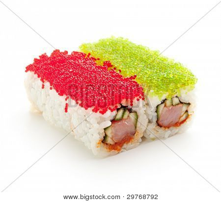 Tobiko Spicy Maki Sushi - Hot Roll with various type of Tobiko (flying fish roe) outside. Tuna, Cucumber and Green Lettuce inside