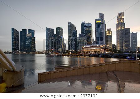 Singapore City Skyline On A Rainy Day