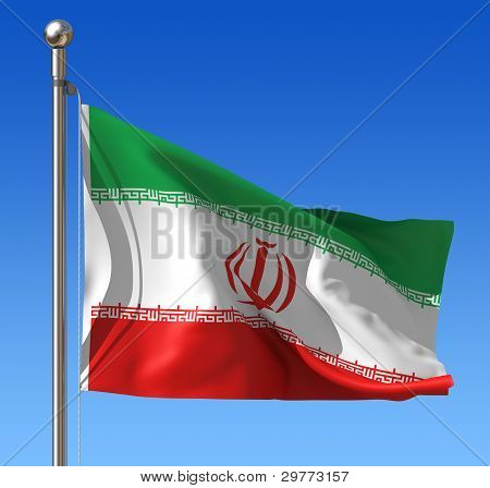 Flag of Iran against blue sky.