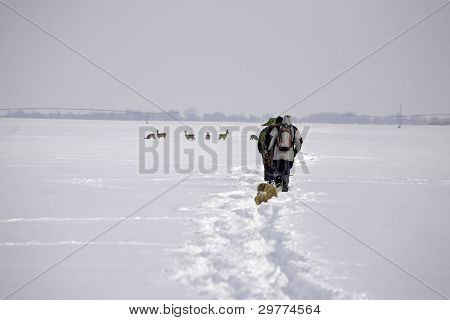 Trekking At Snowy Plain