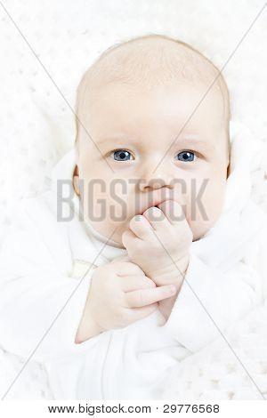Newborn Baby Closeup Portrait Over White Soft Background. Indigo Eyes Looking At Camera