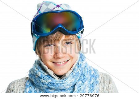 Portrait of a caucasian teenager in ski wearing