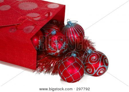 Red Gift Bag Full Of Christmas Toys