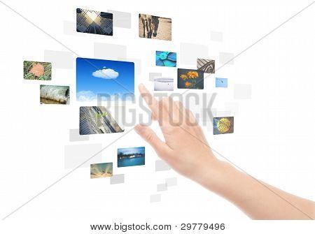 Hand Bilder isoliert Screenschnittstelle mit
