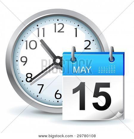 icono de calendario - reloj con calendario de oficina