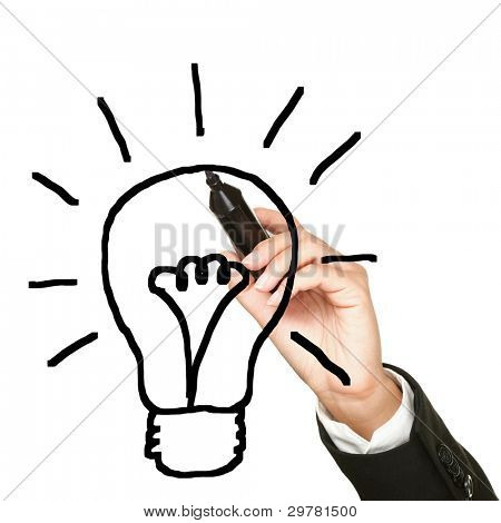 Light bulb idea drawing business concept. Business innovation and idea conceptual image of hand and pen drawing lightbulb isolated on white background.