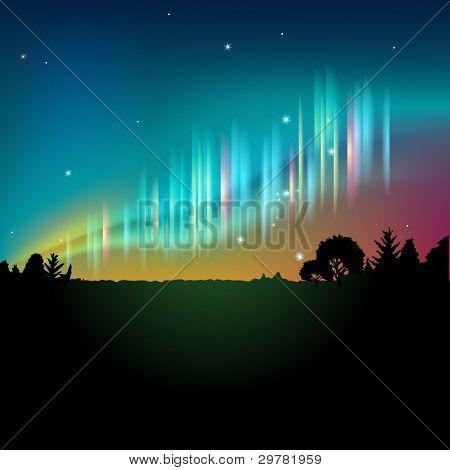 北极光或在夜晚的天空中的极光 库存矢量图和库存照片