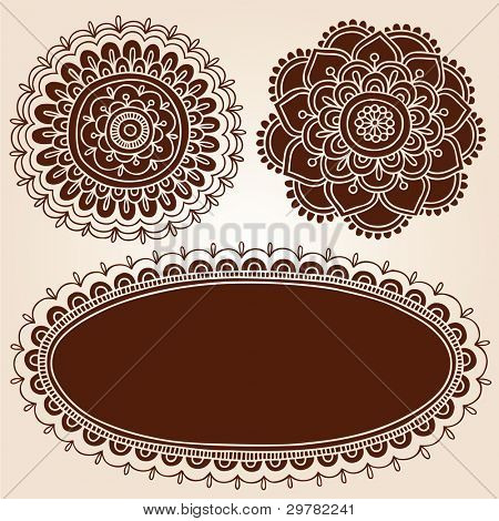 Henna Flower Mandala Mehndi Paisley Silhouette Design Elements Vector Illustration