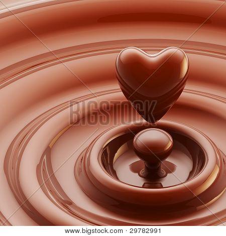 Chocolate heart as a liquid drop background