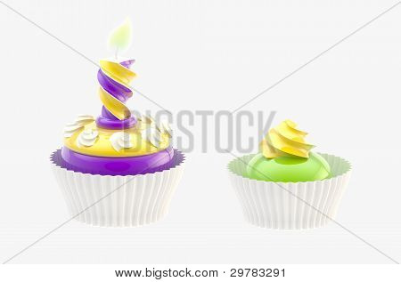 Two glossy cakes isolated