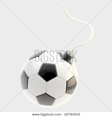 Glossy football ball as a bomb isolated